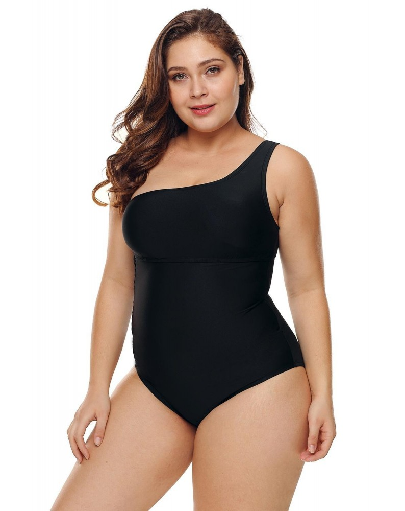 One Shoulder Grid Cutout Side Plus Size Maillot Swimwear