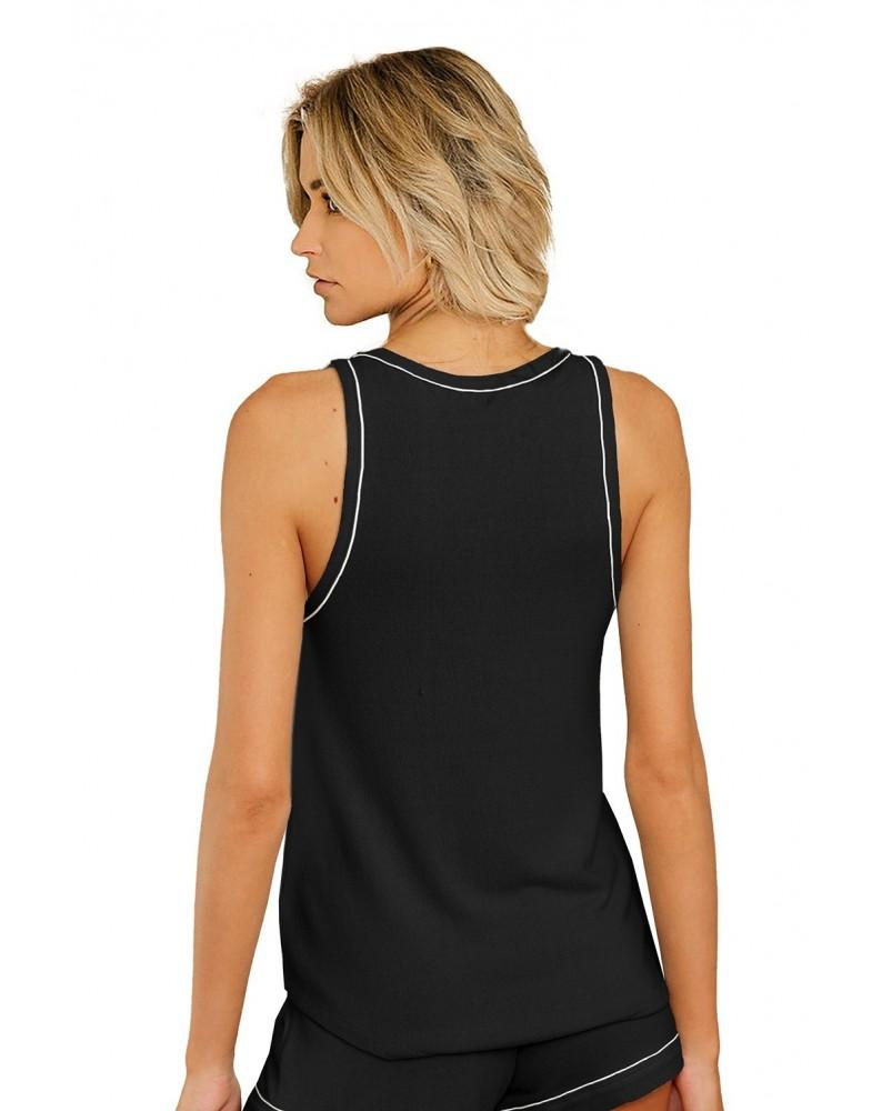 Black Knit Sleeveless Shorts Pajamas Set