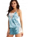 Blue Lace Decor Satin Sleepwear Cami Top and Shorts Pajama Set