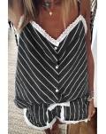 Black Stripes Frill Trim Cami Pajamas Set