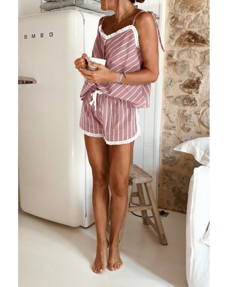 Pink Stripes Frill Trim Cami Pajamas Set