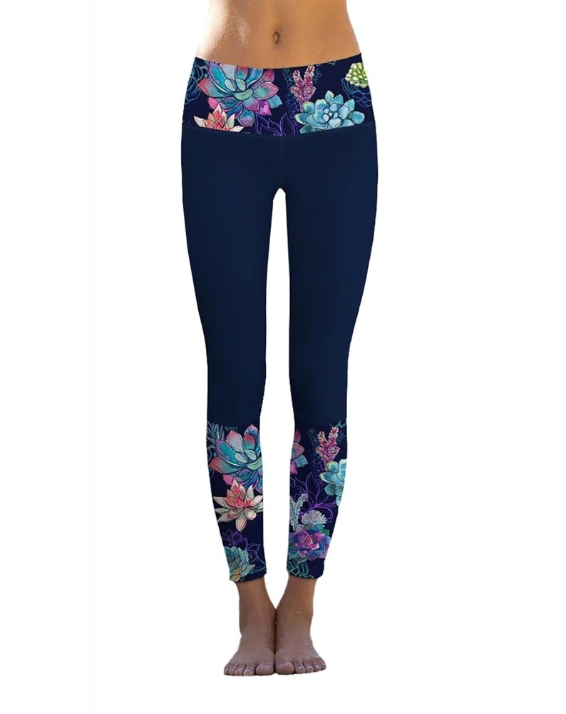 Navy Floral Printed Details Leggings Yoga Pants