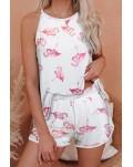 Flamingo Knit Pajama Shorts Set