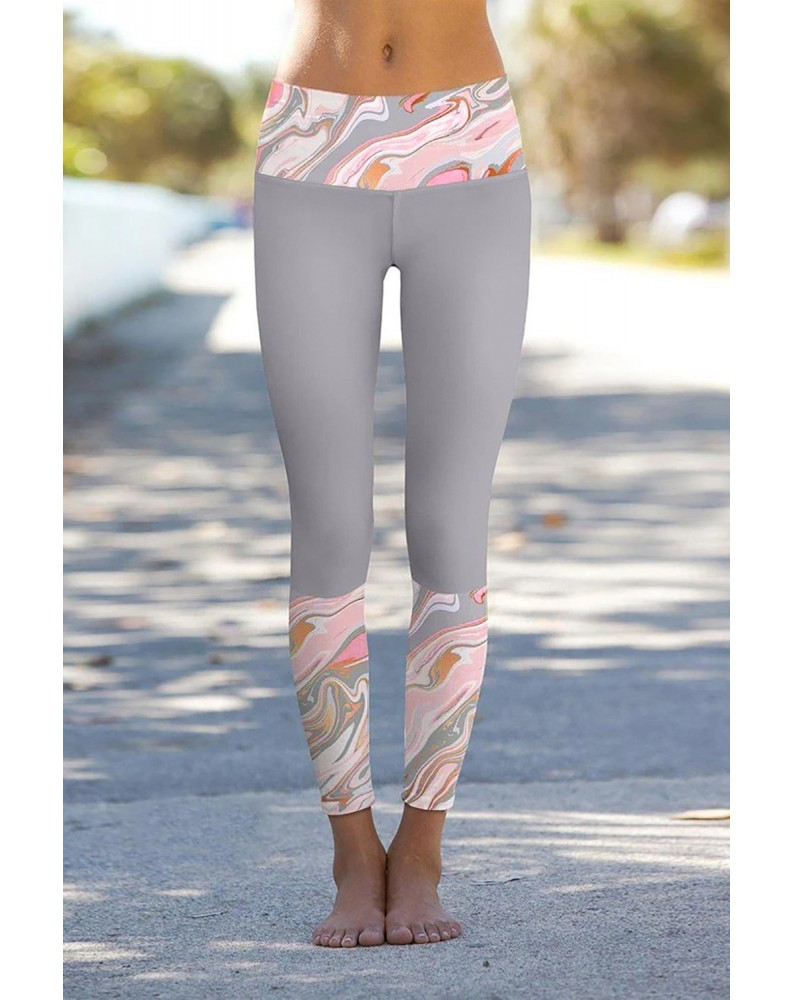 Gray Paisley Printed Details Leggings Yoga Pants