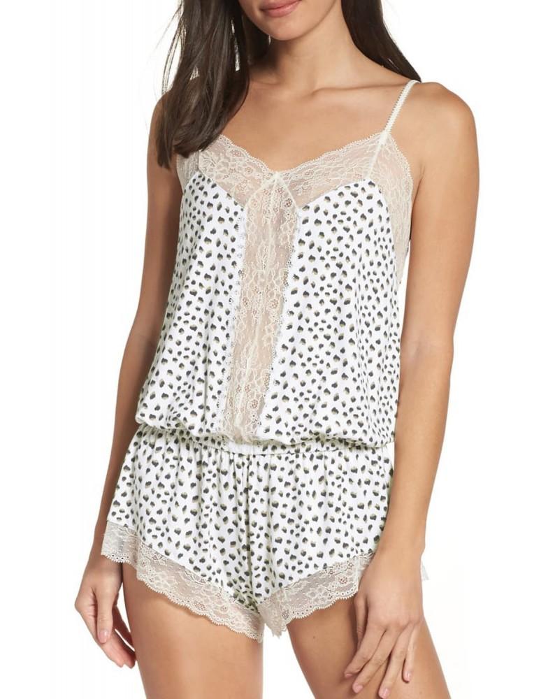 Lace Trim Cheetah Cami Pajamas Set