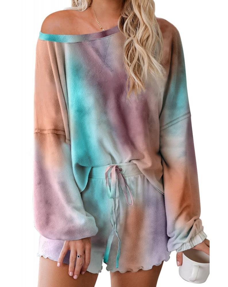 Multicolor Tie-dye Pajamas Loungewear Set