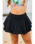 Black Double-layered Ruffles Beach Skirt