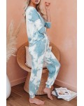 Sky Blue Tie Dye Knit Long Sleeve Joggers Set