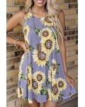 Purple Sunflower Print Tank Dress