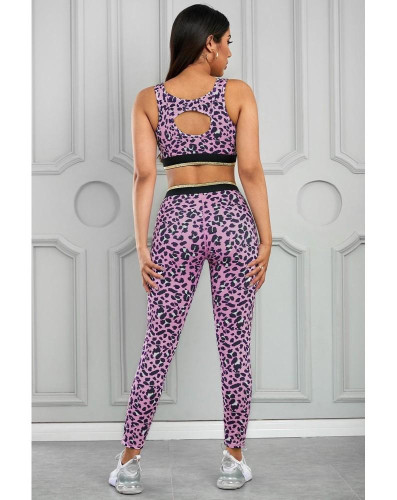 Pink Leopard Print Active Bra Pants Yoga Set