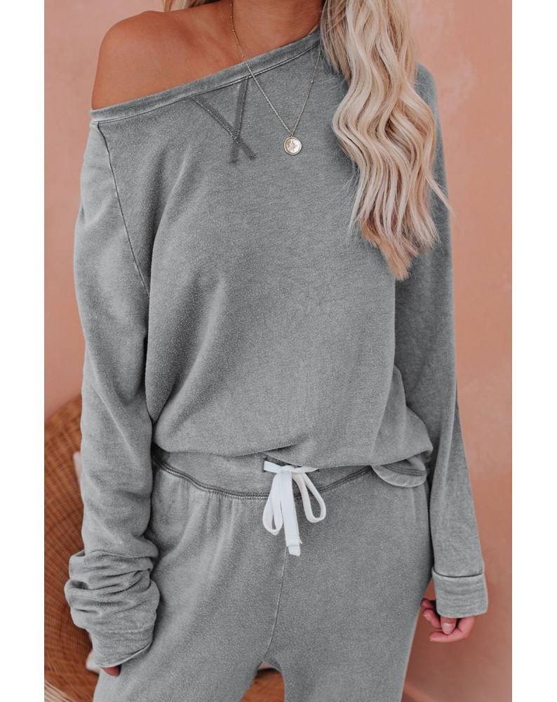 Gray Raglan Sleeve Top And Pants Loungewear Set