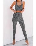 Gray Cheetah Print Sport Bra Pants Set
