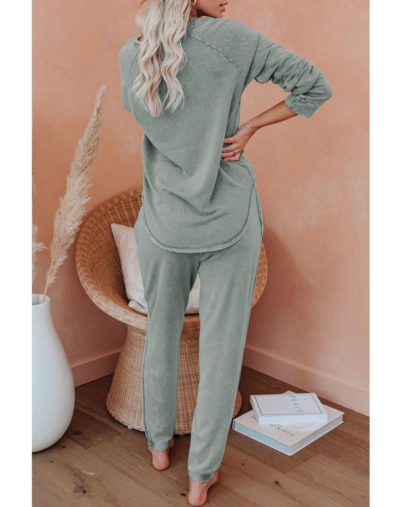 Green Raglan Sleeve Top And Pants Loungewear Set