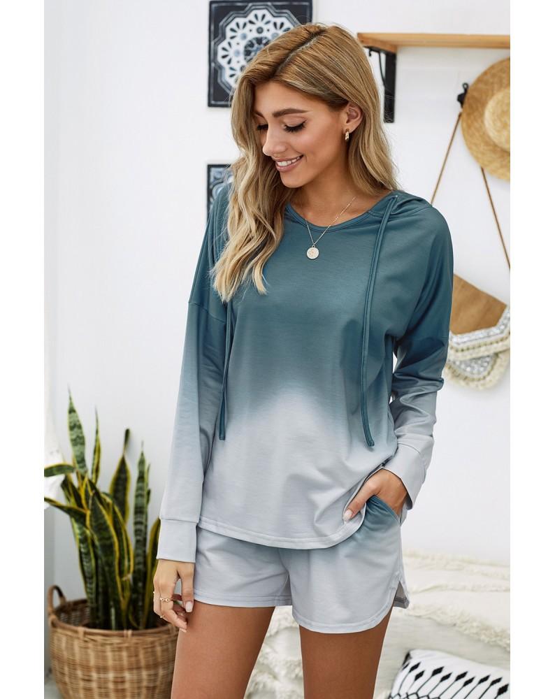 Blue Dip Dye Hooded Lounge Sweatshirt Shorts Set