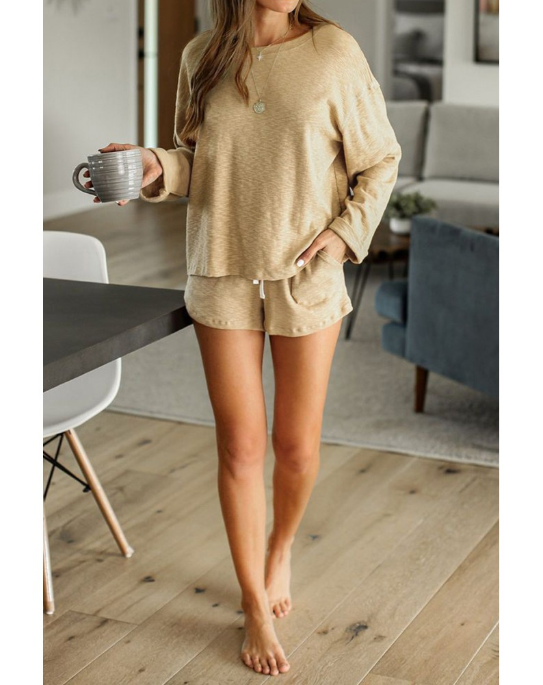 Khaki Pocketed Knit Loungewear Set