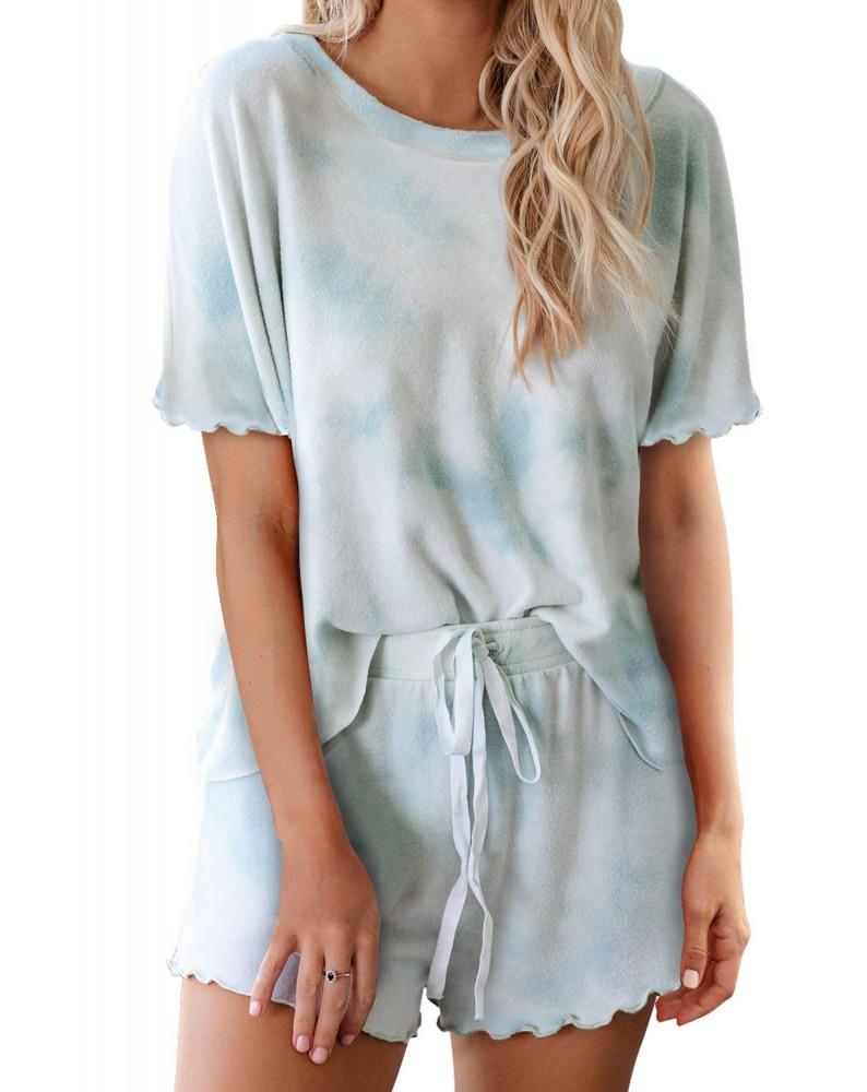 Sky Blue Tie Dye Short Sleeve Shorts Lounge Set