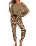 Brown Casual Long Sleeve Leopard Pants Loungewear Set