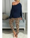 Blue Casual Long Sleeve Leopard Pants Loungewear Set