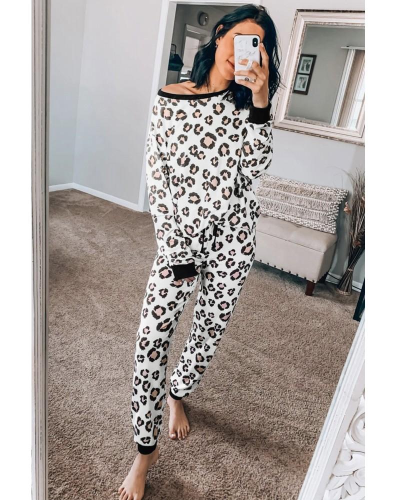 Leopard Print Long Sleeve Joggers Lounge Set