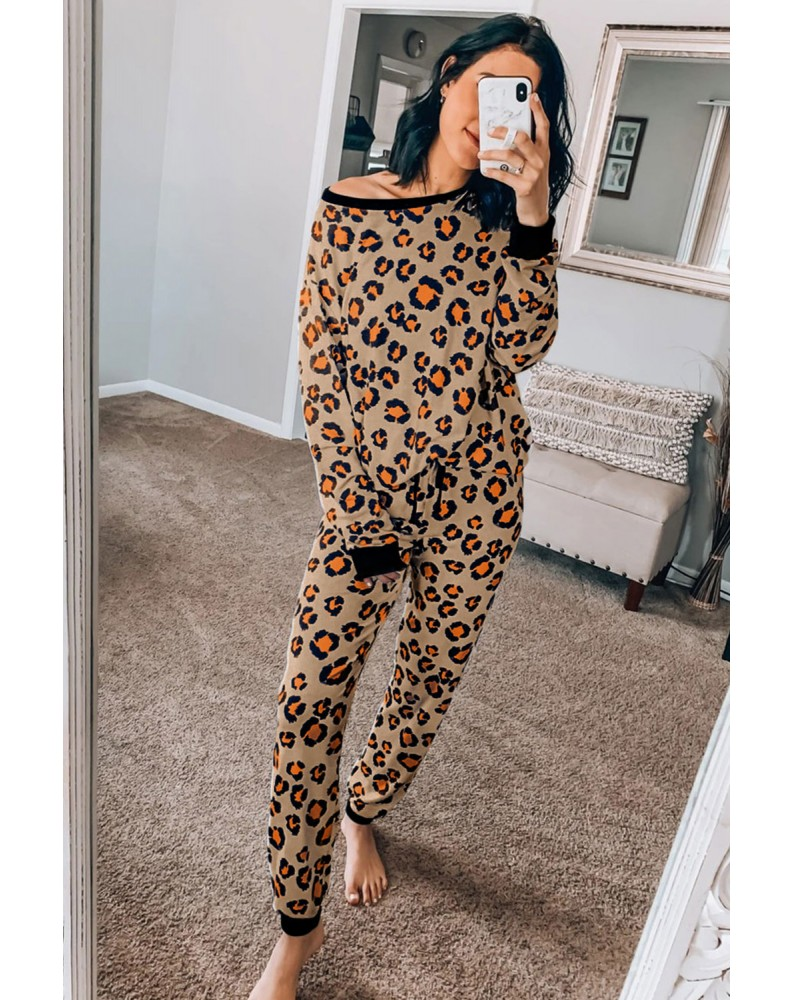Brown Leopard Print Long Sleeve Pants Loungewear Set