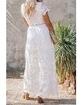 White V Neck Lace Maxi Dress