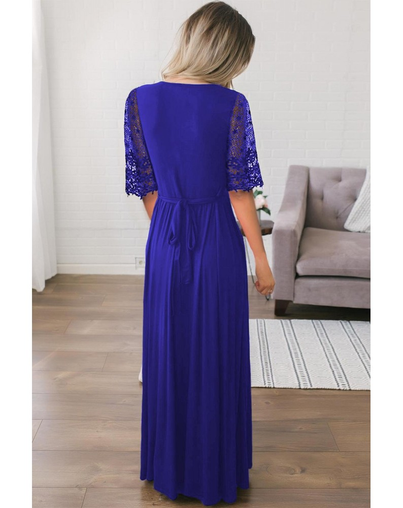 Blue Floral Lace Half Sleeve Wrap V Neck Maxi Dress