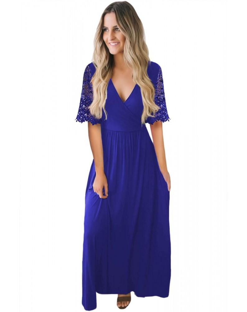 Blue Floral Lace Half Sleeve Wrap V Neck Maxi Dress