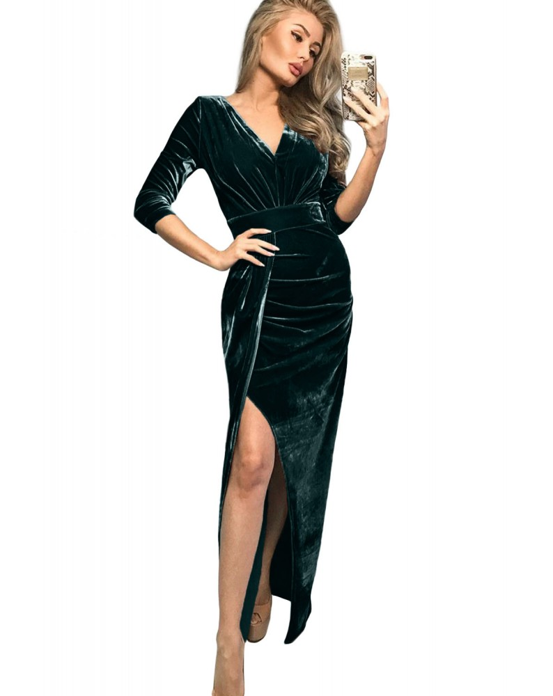 Green Deep V Neck Ruched Side Slit Cocktail Velvet Dress