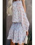 Sky Blue V Neck Lantern Sleeves Floral Tunic Dress