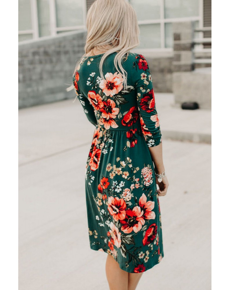 Green Floral 3/4 Sleeve Wrap Dress