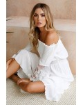 White Off Shoulder Embroidered Flared Sleeve Lace Maxi Dress