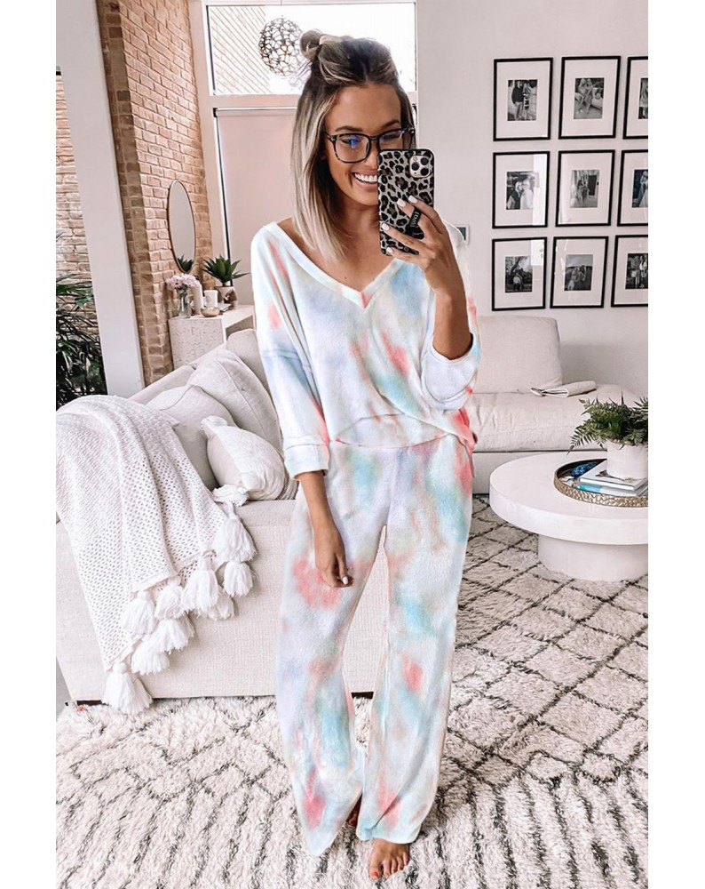 Deep V-neck Dropped Shoulder Tie-dye Pajama Set