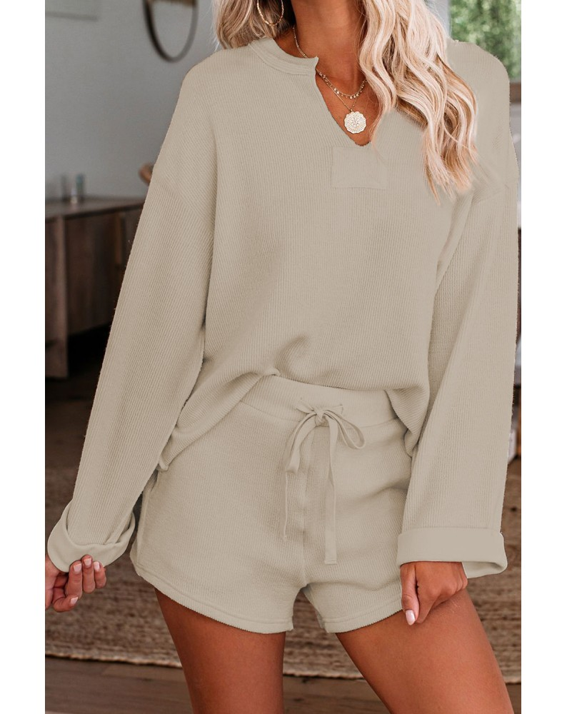 Apricot Inverted Knit Pullover Shorts Set