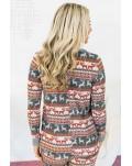 Reindeer Run Print Long Sleeve Top & Drawstring Pants Loungewear Set