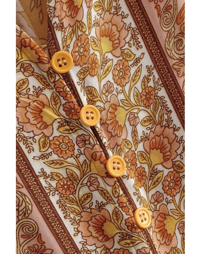 Yellow V-neck Floral Print Long Sleeve Tunic Mini Dress