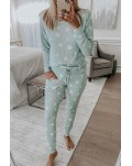 Green Star Print Pocket Drawstring Pajama Set
