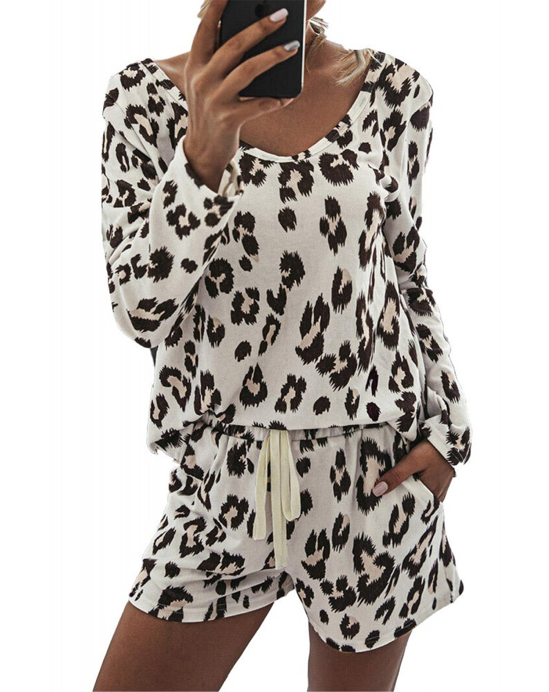Leopard Top and Drawstring Pocket Shorts Two-pieces Set
