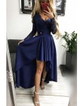 Dark Blue V-neck Lace Backless High and Low Hem Evening Dress