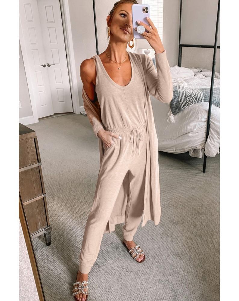 Khaki Sleeveless Drawstring Jumpsuit and Cardigan Loungewear Set