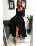 Black V-neck Lace Backless High and Low Hem Evening Dress