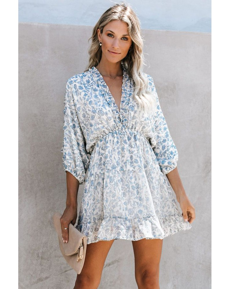 Sky Blue Ruffle Tiered Babydoll Style Mini Dress