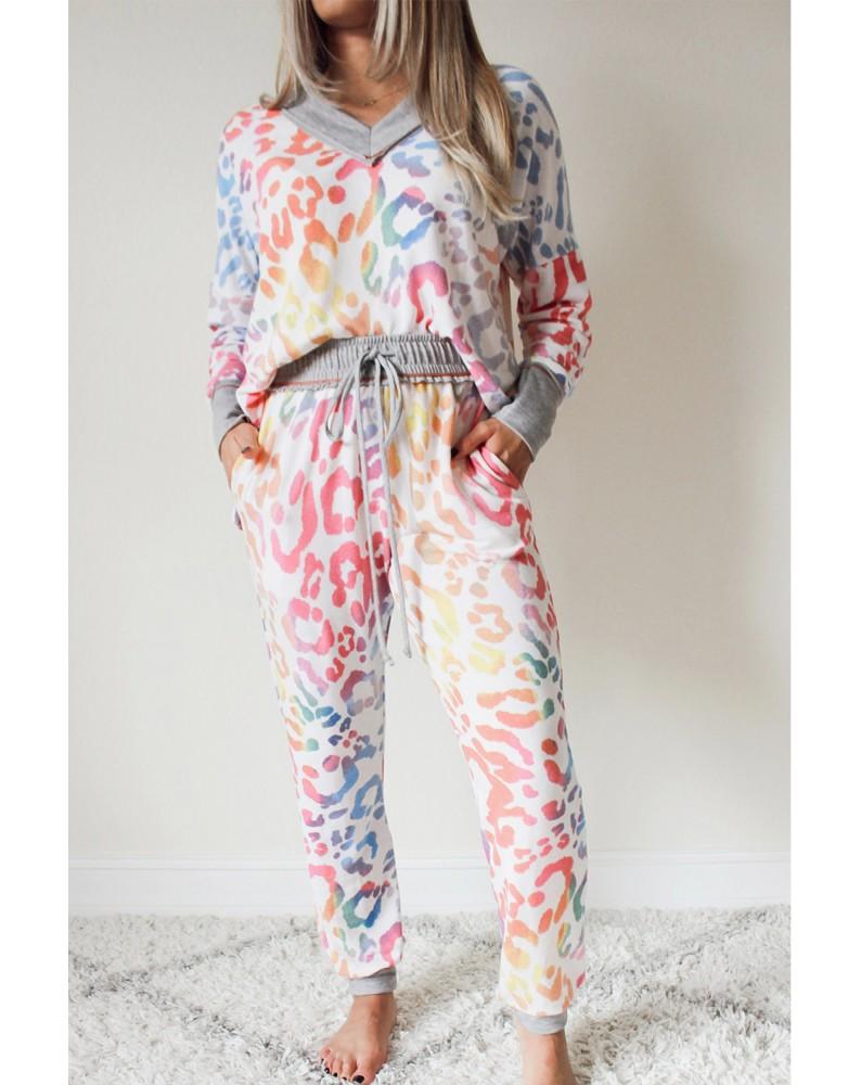 Multicolor V-neck Leopard Print Color Block Joggers Set