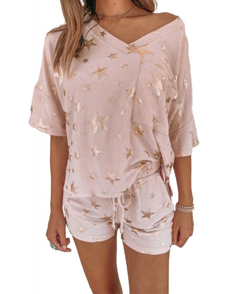 Pink Star Print V Neck Tee and Drawstring Shorts Pajamas Set