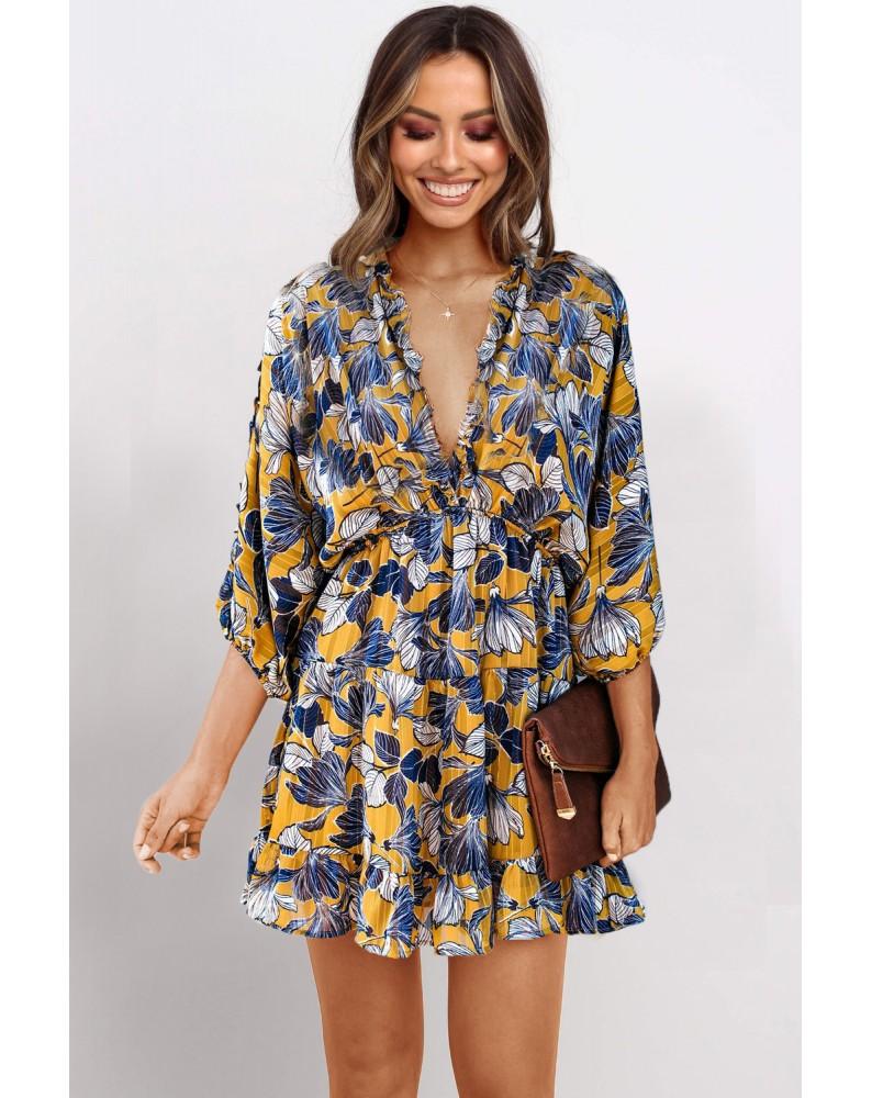 Yellow Ruffle Tiered Babydoll Style Mini Dress