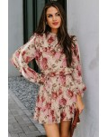 Long Sleeve Ruffled Floral Dress with Waist Tie