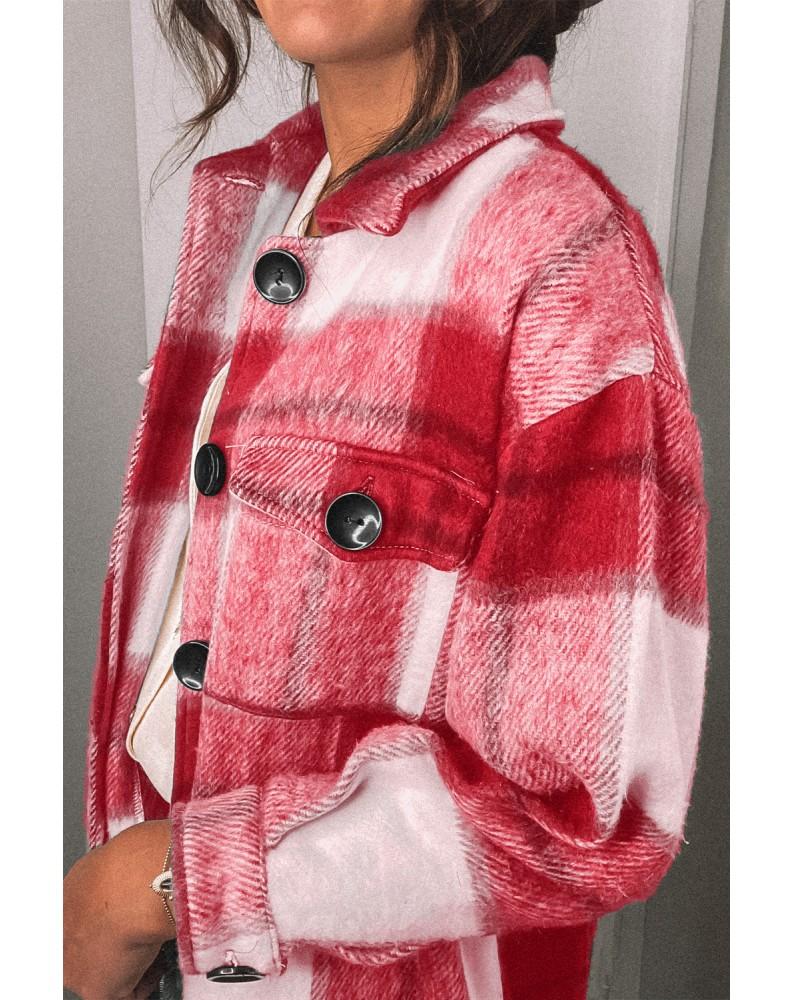 Red Shirt Collar Button Closure Plaid Coat