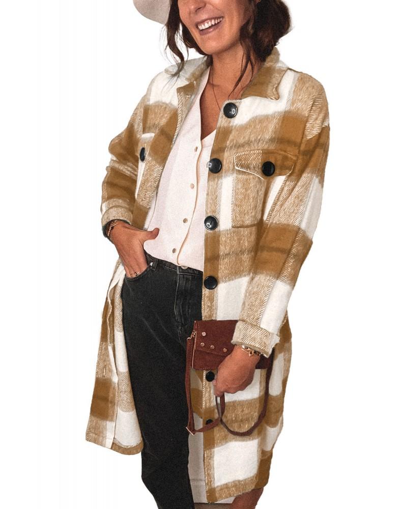 Khaki Shirt Collar Button Closure Plaid Coat