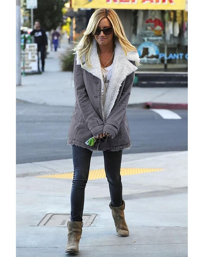 Gray Lapel Collar All Denim Wool Warm Coat