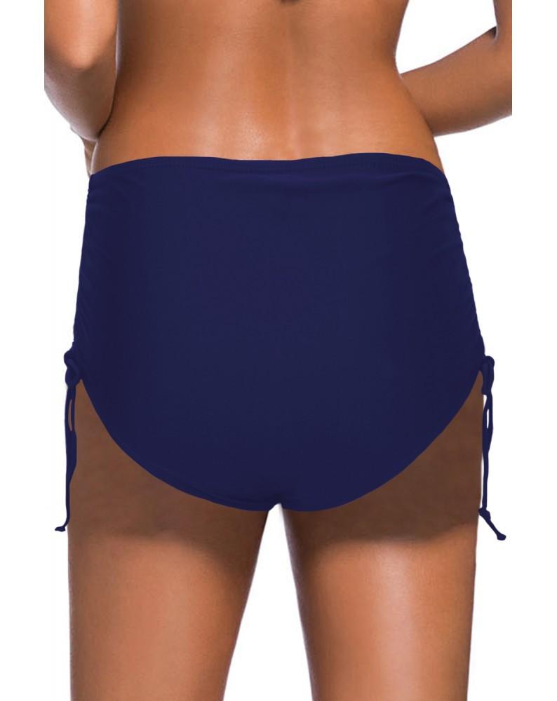 Blue Drawstring Ruched Sides High Waist Swim Panty