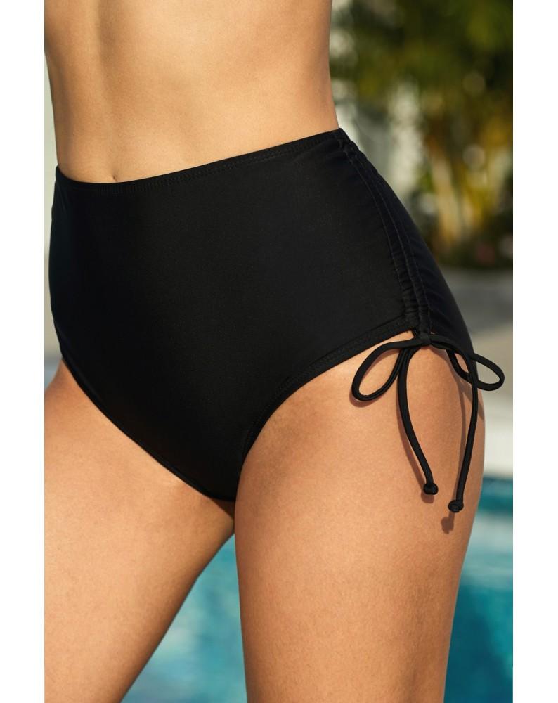 Black Drawstring Ruched Sides High Waist Swim Panty